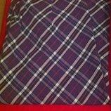 Стильная клетчатая юбка миди, по колено. В стиле Burberry. Фиолетовая. Новая.