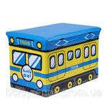 Чудо ящик-корзина для игрушек, пуфик -детский, Поезд