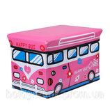 Чудо ящик-корзина для игрушек, пуфик -детский, Автобус розовый