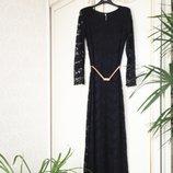 Платье длинное из кружева золотой пояс Италия люкс S/M/L черное нарядное вечернее