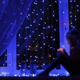 Светодиодная гирлянда Водопад 3х3 м. 480 LED Синяя