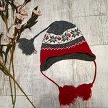 Зимняя шапка-ушанка с завязками с орнаментом,утепленная флисом