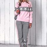 Тёплый женский спортивный костюм на байке 128-1 Лампасы Звёзды Стразы .