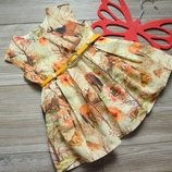 Платье пышное с поясом Next с лошадьми 6-9 мес