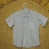 Белая рубашка на мальчика с коротким рукавом Marks&Spencer на 8 лет
