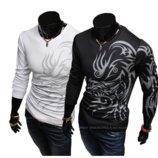 Свитер, свитшот мужской с абстрактным принтом L, XL, XXL черный
