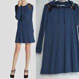 Платье -худи с длинными рукавами из вискозного трикотажа цвет джинс размер m 46-48