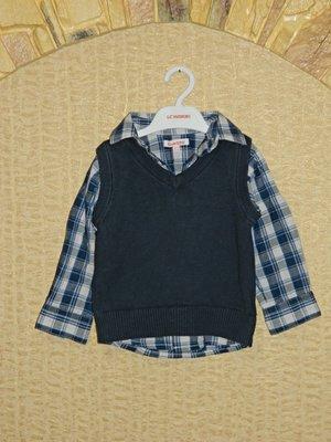 Детская кофта имитация жилетки с рубашкой на мальчика 18-24 месяца Bluezoo