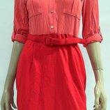 Платье поло на планке под пояс цвет коралл 10p на 44-46 рр рост до 167 см