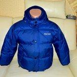 Детская куртка пуховик синяя на мальчика подростка 8-10-12 лет Athletic