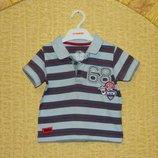 Детская футболка поло на мальчика полосатая с голубым и серым на 9-12 месяцев Disney