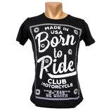 Мужская черная футболка Born to Ride - 2202