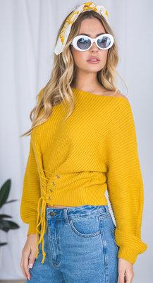 женский вязаный свитер со шнуровкой спереди желтый 500 грн