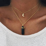 Двойная цепочка ожерелье с подвеской луна и черный камень