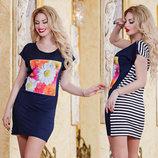 Женское летнее короткое платье в полоску 2859 Цветы Фото . Турция.