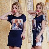 Женское летнее короткое платье в полоску 2857 Котёнок . Турция.
