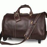 Кожаная дорожная сумка на колесиках Бесплатная доставка 7077LC