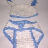 Вязаный комплект шапочка трусики кролик зайчик ручная работа на ребенка или пупса новогодний костюм