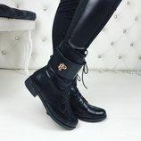 Женские зимние кожаные ботинки Philipp Plein
