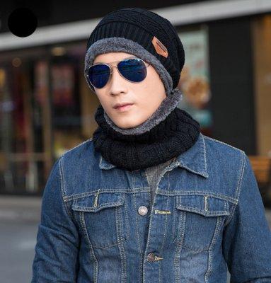 Мужская зимняя вязаная шапка с мехом шарф черная
