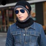 Шапка шарф мужская 4 цвета Распродажа