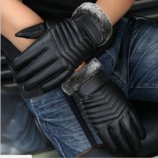 Перчатки мужские для сенсорных экранов утепленные Байкерский стиль код 14 New 2017