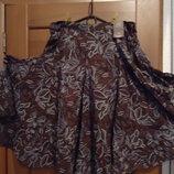 Шоколадная широкая юбка 56-58р