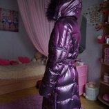 Зимнее пуховое пальто, пуховик, для девочки, новый, опушка-песец, р. 40-44