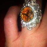 Большое, крупное массивное кольцо с камнями в стиле Хюррем Султан. 17,5-18