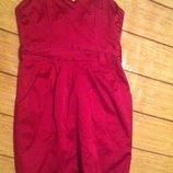 Вечернее платье бюстье малинового цвета. H&М. На подкладке. S.