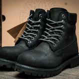 Ботинки на меху Timberland 6 premium boot,зимние,мужские,натуральная кожа,черный