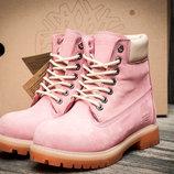 Ботинки на меху Timberland 6 premium boot,зимние,женские,нубук,розовый