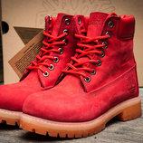 Ботинки на меху Timberland 6 premium boot,зимние,женские,нубук,коралловый