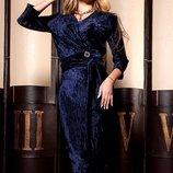 Платье миди из гофрированного бархата Модус