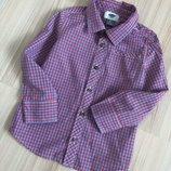 Клетчатая новогодняя рубашка Олд Неви р. 4 года