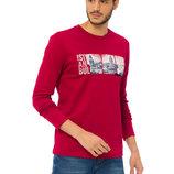 мужской реглан LC Waikiki насыщенно-красного цвета с рисунком и надписью на груди Istanbul