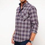 капучиновая мужская рубашка De Facto в синие полоски
