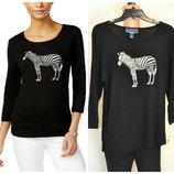 Свитшот, лонгслив, свитерок Karen Scott,графика со стразами zebra,100%хл, размер l
