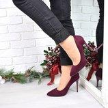 Женские замшевые туфли лодочки марсал