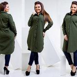 Женская стильная туника в больших размерах 023-1 Коттон Рубашка Миди в расцветках.