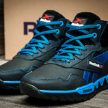 Кроссовки на меху Reebok, мужские,зимние,натуральная кожа,черный, синий