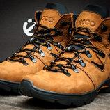 Ботинки на меху Ecco,зимние,мужские,нубук,рыжий