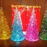 Светящаяся елка, минисветильник, подарок, Новый год, желтый, синий, зеленый, розовый