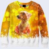 Женский свитшот 3D Рождественская собачка Большой выбор