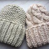 вязаная шапка ручной вязки массивная пряжа