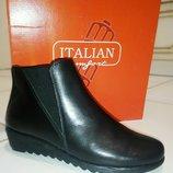 250 мм Italian Shoemakers кожаные женские ботиночки узкая стопа подъем