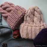 вязаный комплект ручная вязка шапка снуд хомут в наличии