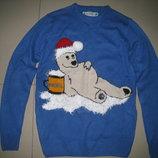 Фирменный новогодний свитер.кофта размер XS 46-48 р-р