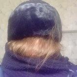 Шикарный теплый комплект шапка и шарф с отделкой под мутона