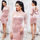 Элегантное вечернее платье средней длины 5392 Велюр Кокетка Рюши Кружево в расцветках.